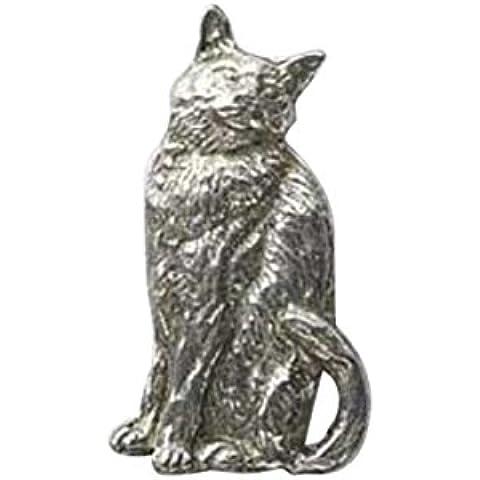 In peltro, a forma di gatto seduto,