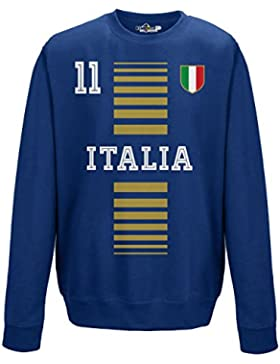 Felpa Girocollo Uomo Nazionale Sportiva Italia 11 Calcio Europa Tricolore 1 XL