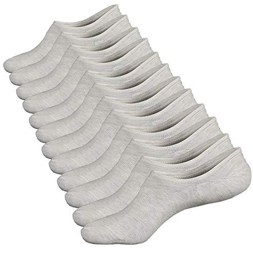 Ueither Damen Unsichtbare Sneaker Socken Baumwoll Kurzsocken Sport Socken für Loafers Boots Schuhe mit Rutschfest Silikon (Schuhgröße:36-43, Gebrochenes Weiß (6 Paare)) - Damen Weiß Loafers Schuhe