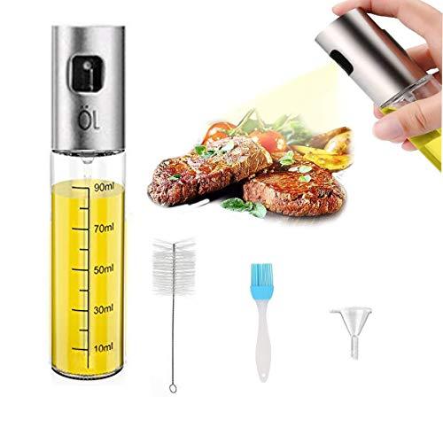 Mengger Ölsprüher,Oil Sprayer,Sprühflasche, Öl Zerstäuber Edelstahl Portable Olivenöl Glasflasche Küche Werkzeug für Pasta BBQ Salate Kochen Backen Braten Grillen(100ml) Ölsprüher Salat-chip