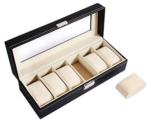 Ohuhu® 6-Slot Leder Uhrkasten Uhrenkiste Uhrbox Uhrenschatulle Uhr Organiser Uhrenkoffer mit Metallverschluß-Weihnachtsgeschenk