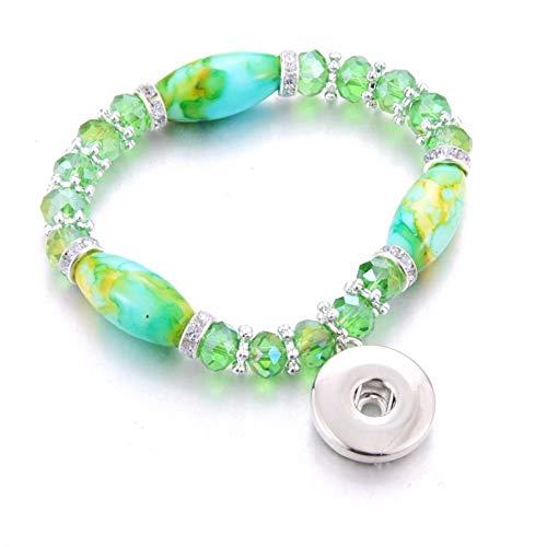 ZKZDSL Armband,Elastizität Druckknopf Armband Perlen Snap Armband Fit Snap Buttons Schmuck Naturstein Perlen Grün -