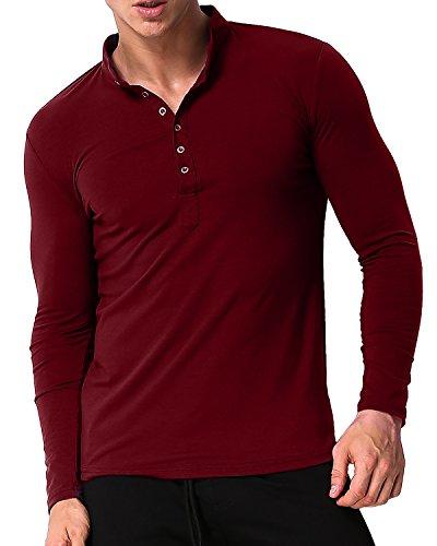 MODCHOK Men's Long Sleeve T-Shirts Henley Collar Tee Shirt Cotton Button Neck Tops Wine Red L (Shirt Golf Work)