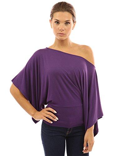 PattyBoutik Femmes Top manches kimono une épaule violet foncé
