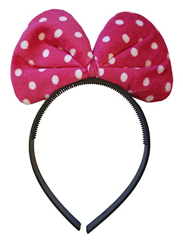 Pink Polkadot Plush Minnie Mouse Headband Fancy Dress Party Ears (Minnie Polka Pink Mouse Dot)
