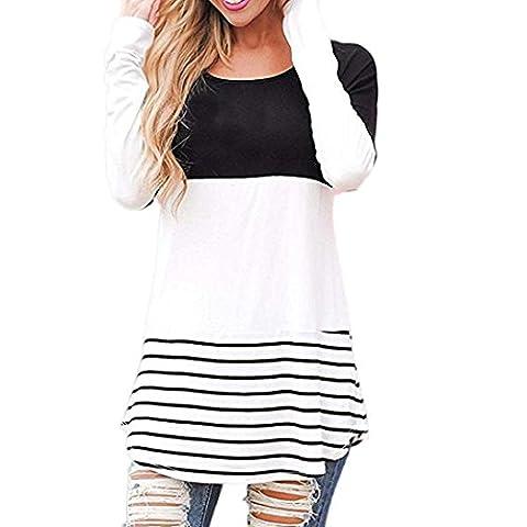 Blouse Chemise T-shirt Femme, LMMVP, Sexy Rayée à Manches Longues (l, noir)