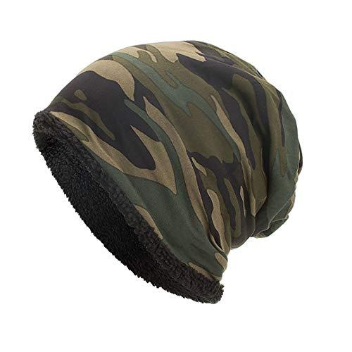 YWLINK Beanie MüTze Camouflage Woodland Mit Warmes Futter FüR Damen Herren MäDchen Jungen Hat Unisex One Size(Armeegrün)