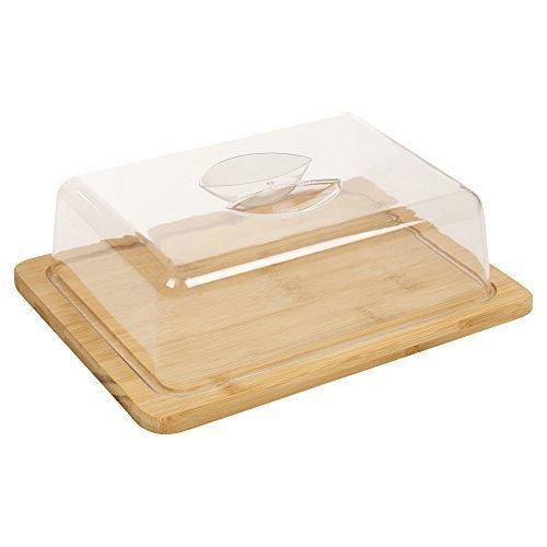 Bandeja de queso hecha de bambú, con tapa de acrílico y compartimentos de almacenamiento. Ideal para servir queso