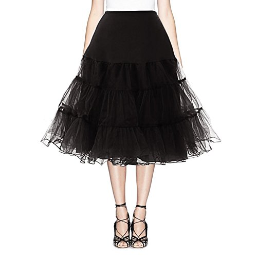 Find Dress Vintage Damen 50er Jahre Rockabilly Petticoat Wedding bridal Knielang unterrock FD10041Black S-M