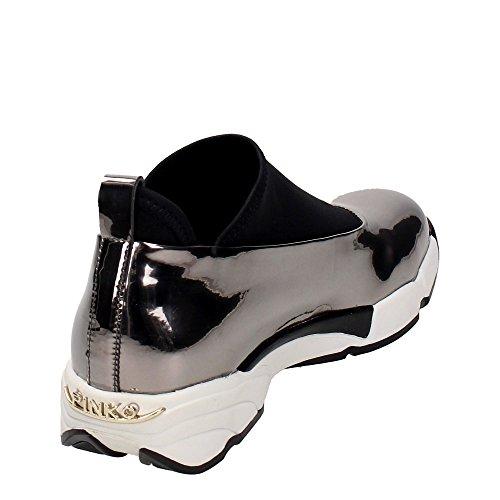Scarpe Donna Sneakers PINKO 1H208E Magnolia 1 I50 Grey Laminate 2016 Shine Baby Grigio
