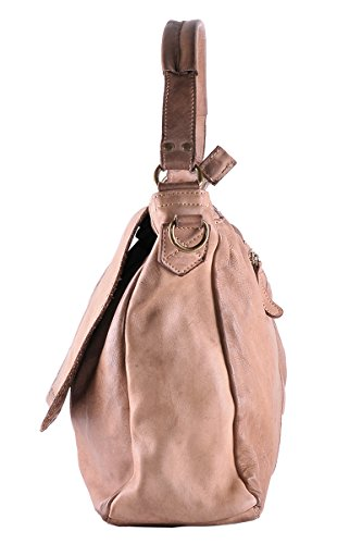 BORDERLINE - 100% Made in Italy - Borsa da Donna in Vera Pelle - Stile Vintage - ADELE Taupe