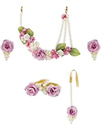 AakarShan Jewels Festive Artificial Flower Jewellery Set For Women, Pack Of 6 (axf005?)