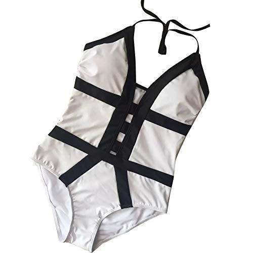 VBWER Damen Bikini Set Push Up Neckholder Bikini Bustier Einteiler Sommer Sportliches Bademode Strand Bikini