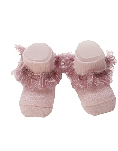 | BABY SOCKEN MIT ROSA RÜSCHEN | ONE SIZE | ITALIAN HOSIERY | (Booties Bio-baumwolle Neugeborenen)