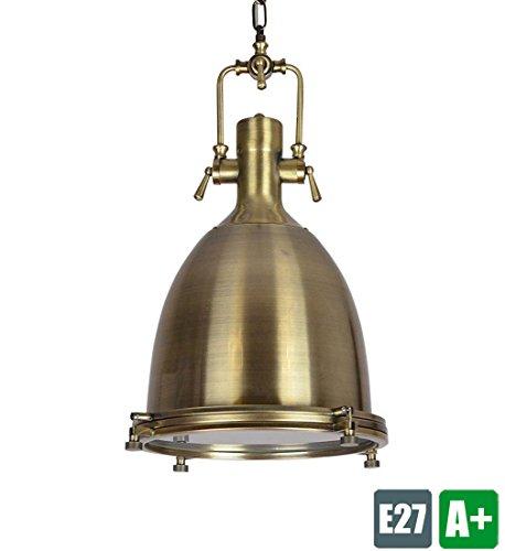 Vintage Decken Pendelleuchte Runden Retro Pendellampe Antik Kreative Design Hängeleuchte Metall Hängelampe Klassische Hänge Strahler Innen Dekoration Leuchte Wohnzimmer Lampe 1* E27 MAX 40W Bronze -