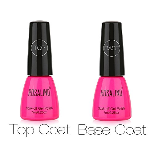 ROSALIND 2 Stück Top Coat + Base Coat Uv Diamond Nail Gel Polnisch Primer Nail Art Machen Sie Ihre Nägel schön (Klar)