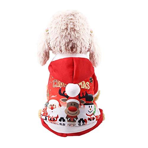 HOQTUM Weihnachten Haustier Hund Kleidung Hund Herbst und Winter Taste Kapuzenjacke Santa Schneemann Elch drucken Kleidung 4 Beinhosen Mantel Kostüme