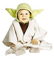 Bambino o bambini piccoli dimensioni ufficiale Star Wars Yoda fancy dress costume include un copricapo di Yoda di tessuto verde con le orecchie e una tunica con cappuccio di tessuto crema. Questo costume è disponibile in unica taglia per i pi...