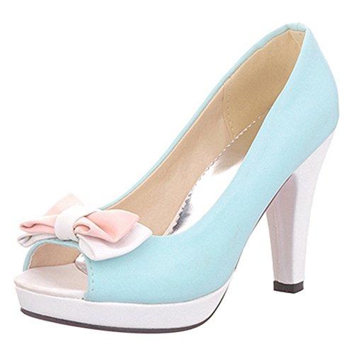TAOFFEN Damen Elegant High Heel Plateau Sandalen Peep-toe Pumps mit Bogen Blau