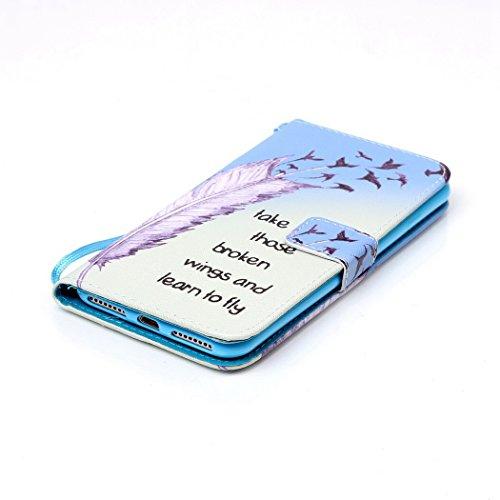 Ledowp Apple iPhone 8Plus custodia portafoglio, copertura integrale design pattern custodia in similpelle di copertura con slot per schede per iPhone 8Plus multicolore Feather Feather