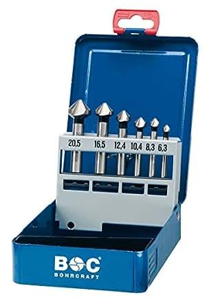 Craft Cône de forage Fraise à chanfreiner HSS DIN 335C Coffret en métal, 6pièces 6,3–8,3–10,4–12,4–16,5–20,5mm/KS6, 1pièce, 17001410006