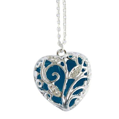 e Magischen Aqua blau Herzen Glühen In der dunklen Anhänger Halskette Geschenk für Damen Mädchen (Herzen Glühen)