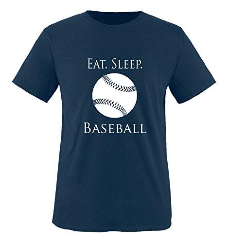 Comedy Shirts - EAT. Sleep. Baseball - Ball - Jungen T-Shirt - Navy/Weiss Gr. 110-116