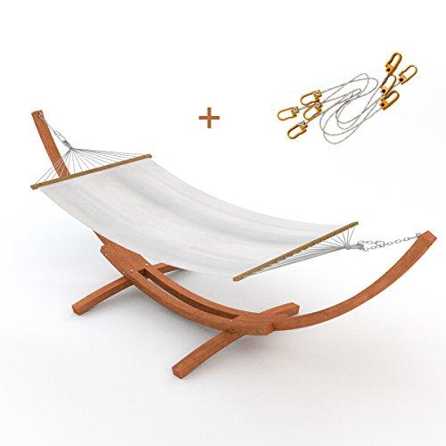Outdoor Hängematte im Set mit Sicherung und Gestell Madagaskar 400 cm braun | Hängemattengestell Holz sibirische Lärche wetterfest | XXL Stabhängematte wollweiß aus Baumwolle