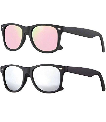 caripe Wayfarer Retro Nerd Vintage Sonnenbrille verspiegelt Damen Herren- SP (2er Set - schwarz gummiert - 1 x rosa verspiegelt - 1x silber verspiegelt)