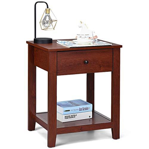 COSTWAY Nachttisch fürs Bett, Nachtkommode Holz, Nachtkonsole mit Schublade, Beistelltisch braun, Sofatisch quadratisch