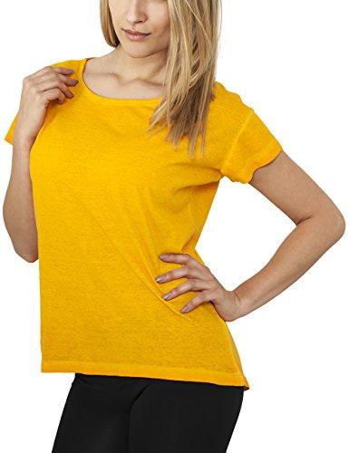 Urban Classics Damen T-Shirt Ladies Long Spray Dye Tee Yellow