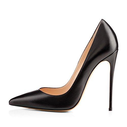 Damen Pumps Spitze Schuhe High-Heels Stiletto Mehrfarbig Hochzeit Party Ballsaal Rutsch Schwarz EU39 - Pu High Heel