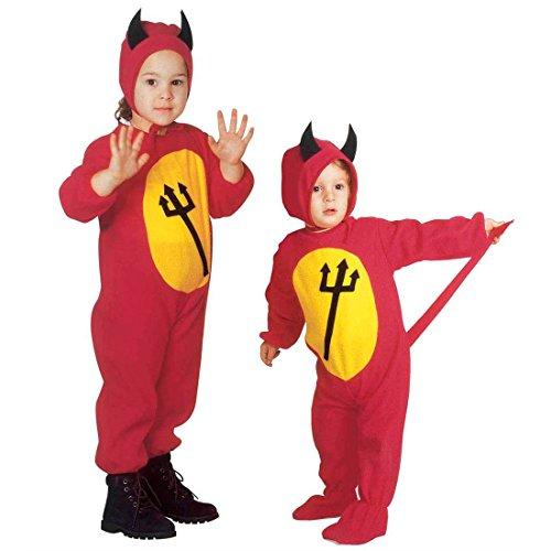 Teufelchen Kostüm Teufel Kinderkostüm 110 cm Kinder Teufelskostüm Kleiner Satan Ganzkörperkostüm Devil Jumpsuit Kinder Dämon Halloweenkostüm
