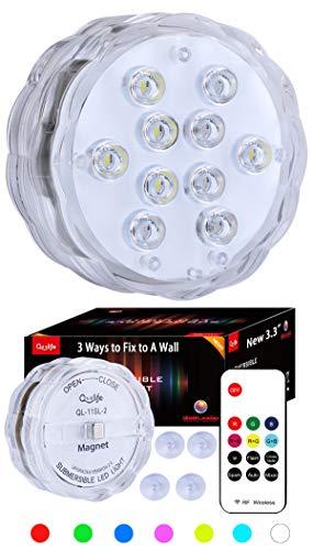Qoolife Magnetic Underwater Lights - RF-ferngesteuerte neue AA-Version Tauch-LED-Licht für Indoor-Outdoor-Brunnen, Wasserfall, Spa, Aquarium, Badewanne, Vase, Unterwasserdekor, Pflanzen-Dekor