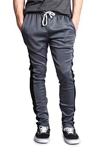 G-Style USA Herren Trainingshose Side Stripe Knöchelreißverschluss Kordelzug Premium - Grau - Mittel -