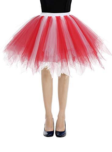 (bbonlinedress Kurz Retro Petticoat Rock Ballett Blase 50er Tutu Unterrock Red-White L)