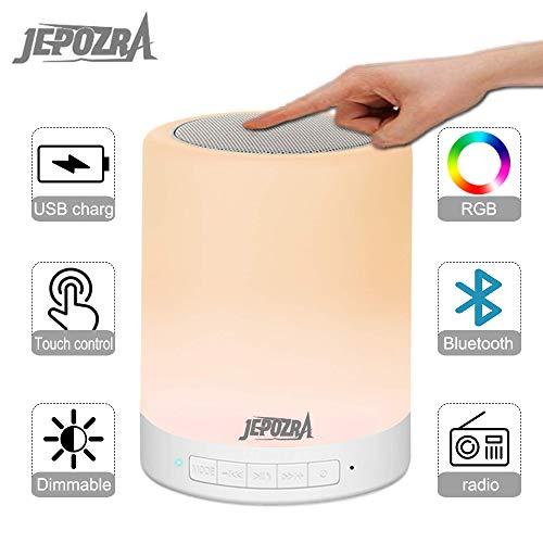 Luz de audio Bluetooth, lámpara de mesa con atenuación táctil, soporte para Bluetooth, tarjeta TF y enlace AUX, carga USB, altavoz manos libres. (white)