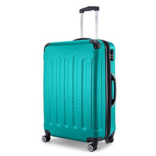 SHAIK® Serie BUTTERFLY, FRA 3 Größen, M | L | XL | Set | 45/78/124 Liter Zahlenschloss (Türkis, XL | Großer Koffer)