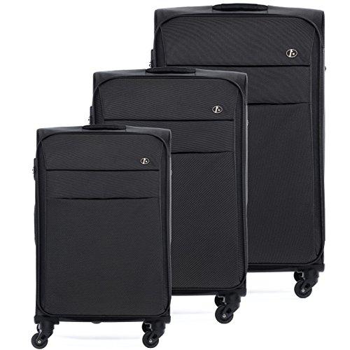 FERGÉ® Kofferset Weichschale 3-teilig Calais Trolley-Stoffkoffer 3er Weichschalenkoffer Set 4 Komfortrollen (360°) Weichschale schwarz