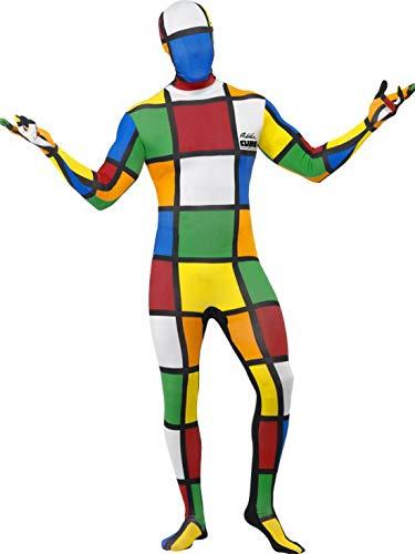 Halloweenia - Herren Männer 80er Jahre Rubiks Würfel Cube Ganzkörper zweite Haut Kostüm, perfekt für Karneval, Fasching und Fastnacht, M, - Rubiks Cube Party Kostüm