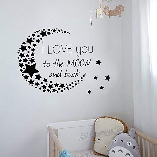 Ich liebe dich zum Mond und zurück Wandtattoo Classic Zitat Sterne Muster Mond Vinyl Kinderzimmer Home Decor Aufkleber DIY Wallpaper79X56 cm -
