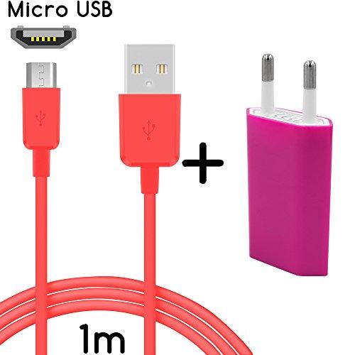 thesmartguard Lot de 2en 1avec Sony Xperia M4Aqua Bloc d'alimentation chargeur câble de charge et Sony Xperia M4Aqua (1m/1m)/Câble de données/câble en rose–nouveau vitesse de chargement.
