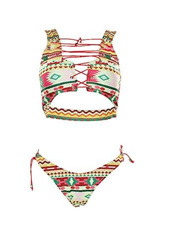 Baolifeng Damen 2Stück Retro Antigua Floral afrikanischen Print Badeanzug Tanga aus Spitze bis Sexy Bikini-Set (FBA) S(US 4-6) Retro African -