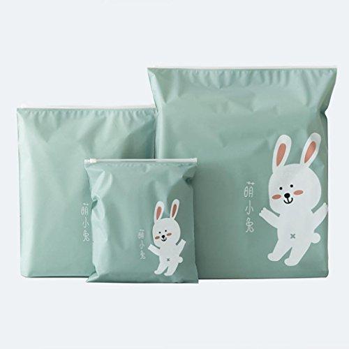Bolsa de almacenamiento,3 piezas de viaje creativo portátil Miscelánea almacenamiento bolsas de dibujos animados patrón práctico impermeable bolsas de ropa de almacenamiento LMMVP (Verde, 3Pcs)