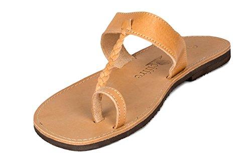 Sandali di Gesu Infradito Premium di vera pelle con cinghiette fatti a mano dalla Grecia Creta di colore beige Dimensione 36 - 47 Beige