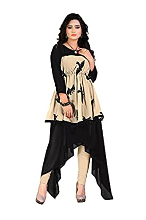 Buy Fashion Designer Step Cut Indian Fancy Girls Wear Black Embroidery Kurti At Amazon In
