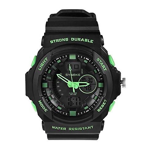 Eizur Dual Time Display 50M Wasserdichtes leuchtendes Sportuhr Militär Armbanduhr