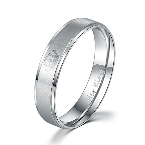 1PC DIY Couple Rings Her King and His Queen Stainless Steel Wedding Band for Women Men (Silver Her King, 54 (17.2))