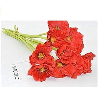 1 ramo de amapolas de maíz de látex y pu artificiales de tacto real para boda o vacaciones, color rojo