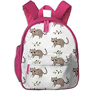 Childrens Backpack for Girls,Watercolor Raccoon_95,for Children's Schools Oxford Cloth (Pink)